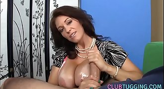 Bigtitted milf tugging hard hard-on pov