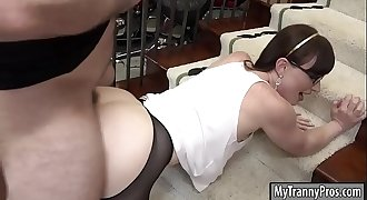 Slender shemale in pantyhose ass pounded